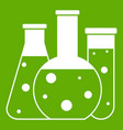 laboratory flasks icon green vector image vector image