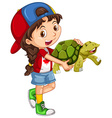 Little girl and green turtle vector image vector image