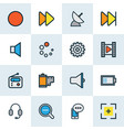 multimedia icons colored line set with film vector image vector image