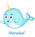 narwhal cute character in cartoon style drawing vector image vector image