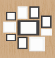 picture frame gallery on wood vector image vector image