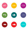 pisces icons set flat style vector image vector image