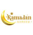 ramadan kareem golden text and crescent for vector image vector image