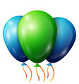 realistic green blue balloons with ribbons vector image