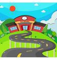 School scene with road to the school vector image vector image