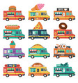 set food trucks burger ice cream coffee cakes vector image vector image