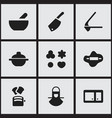 set of 9 editable meal icons includes symbols vector image vector image