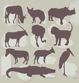 Set of African animals Silhouette vector image