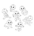 set with cute little baby in diaper vector image vector image