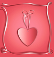 Silk ribbon heart copy vector image