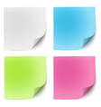 Sticky notes white green pink and blue vector image vector image