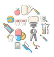 stomatology dental icons set cartoon style vector image