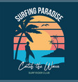 surf sunset print vector image