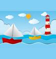two paper boats sailing at sea vector image vector image
