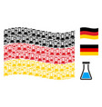 waving germany flag collage of flask icons vector image
