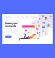web design flat modern template share social media vector image