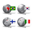 gray earth globes with designation of brazil vector image
