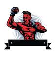 mma fighter logo design template vector image