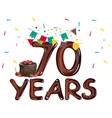 70 years anniversary card vector image vector image