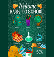 back to school autumn sale poster vector image vector image