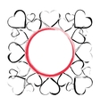 background frame with hearts vector image