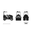 black silhouette vibratory roller vector image vector image