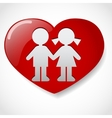 Boy and girl in the heart icon vector image vector image