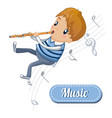 boy play at flute concept background cartoon vector image