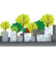 Buildings and trees on the road vector image