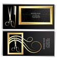 business card golden stylist and hairdresser vector image vector image