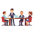 business meeting in office at conference table vector image