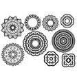 Circle vignette lace ornaments set vector image