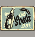 club soda promotional retro tin sign vector image vector image