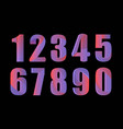 cute 3d colorful numbers set on black background vector image