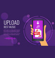 design banner - upload best music mobile phone vector image
