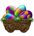 easter easter eggs in a wooden cart vector image