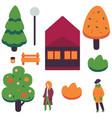 flat autumn cityscape design elements set vector image