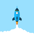 Flat icon of rocket with long shadow style startup vector image