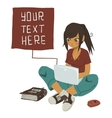 Girl Writing Text Message on notebook vector image