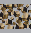 gold and black geometric cubes in dynamic chaos vector image vector image
