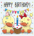 greeting card two cute cartoon ducks vector image vector image