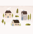 hand drawn village with houses and trees vector image vector image