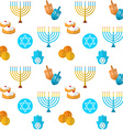 Happy Hanukkah seamless pattern with dreidel game vector image
