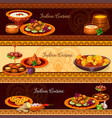 indian cuisine traditional food banner set vector image vector image