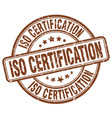 iso certification brown grunge stamp vector image vector image