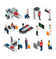 isometric people in airport set vector image vector image