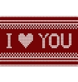 Knitted pattern with I love you inscription vector image vector image