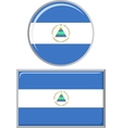 Nicaraguan round and square icon flag vector image vector image