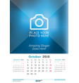 october 2018 wall monthly calendar for 2018 year vector image vector image