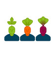 office vegetables managers carrots and beets set vector image